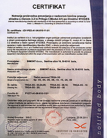 quality certificate for EU homogenisation TRGA (quality of production and operation)